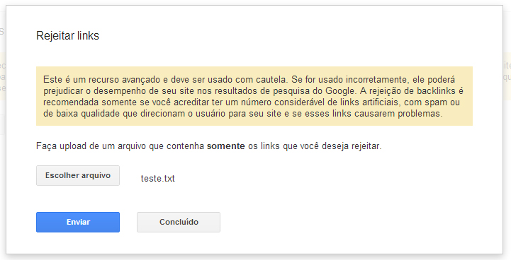 Rejeitando links no Google Webmaster tools