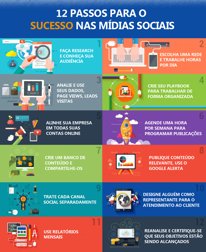 INFOGRAFICO 12 passos para o sucesso nas midias sociais - Digital Prime Web Solutions