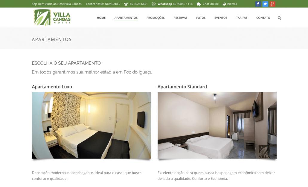 apartamentos novo site hotel villa canoas foz digital prime