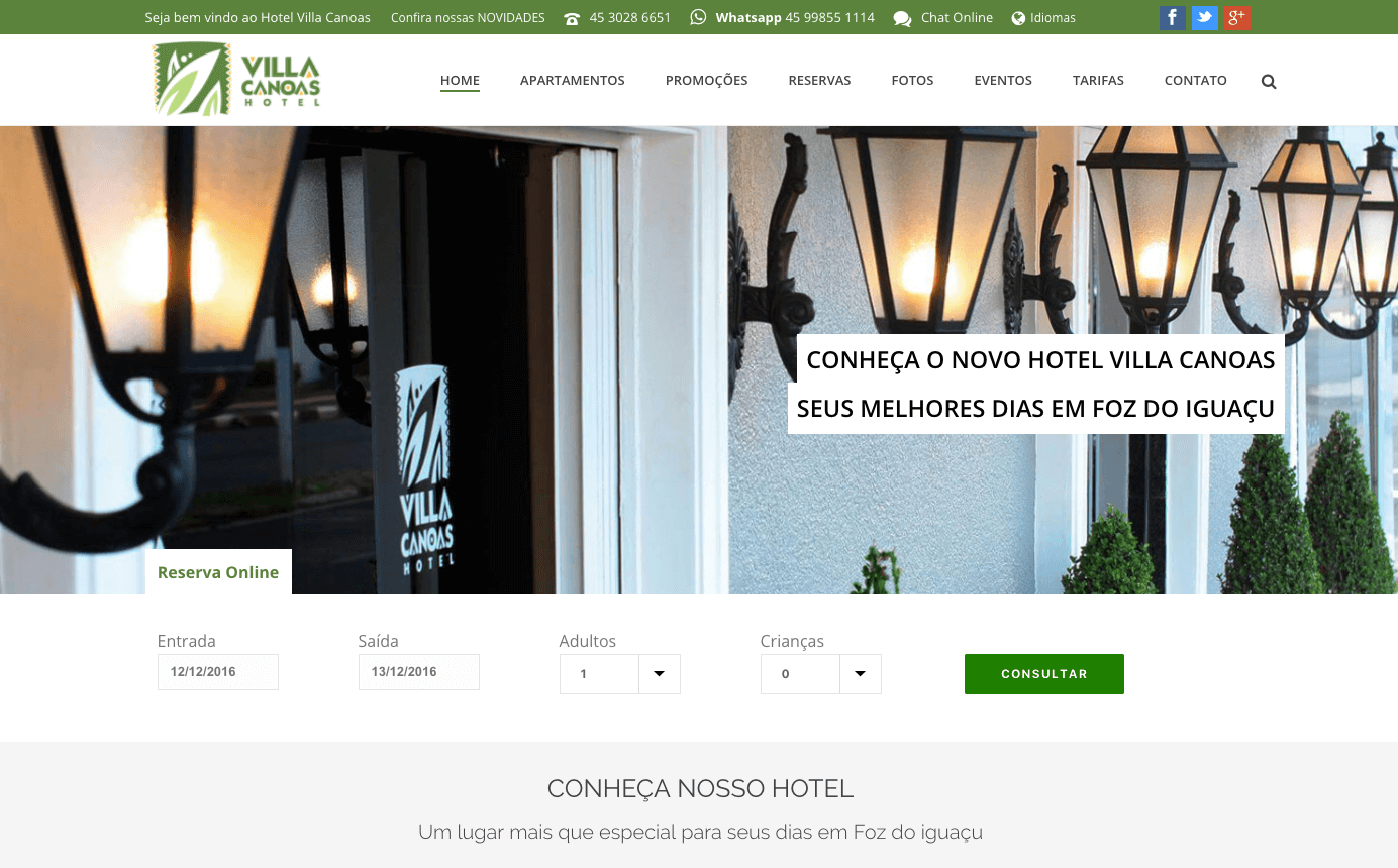 novo site hotel villa canoas foz digital prime